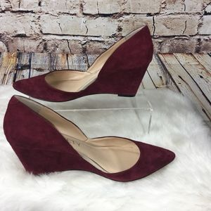 SOLE SOCIETYJillian d'Orsay Wedge-BURGUNDY SUEDE